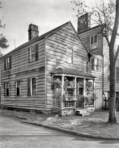 "Savannah, Georgia. 1939 or 1944. ""Davenport tenement, small dwelling, Houston and State streets."" 8x10 negative by Frances Benjamin Johnston."