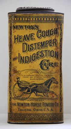 1892 - 1910 Antique Newtons Heave Cough Distemper And Indigestion Cure Horse Remedy Tin Skeleton Death. $305.00, via Etsy.