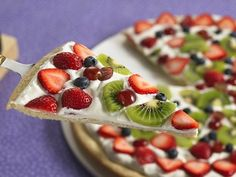 Fruit Pizza: whole wheat tortilla, low or non fat cream cheese, fruits of your choice.