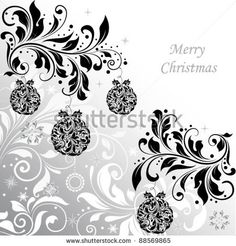 Elegant christmas floral background with balls, vector design by ImagePlus, via ShutterStock