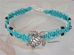 Silver Sea Turtle Teal Blue Micro Macrame Bracelet