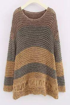 Scoop Neck Color Block Openwork Sweater KHAKI: Sweaters   ZAFUL