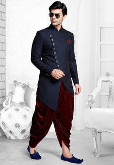 Plain Terry Rayon Dhoti Sherwani in Navy Blue - Wedding And Engagement Mens Indian Wear, Mens Ethnic Wear, Indian Groom Wear, Indian Men Fashion, Mens Fashion Suits, India Fashion Men, Men's Fashion, Fashion Sites, Indian Attire