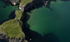 Carrick-a-rede from the air County Antrim Cork City, County Clare, Republic Of Ireland, Island Beach, Northern Ireland, Aerial View, Shades Of Green, Touring, Places To Travel