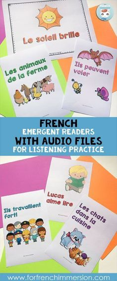 French reading and listening resource: emergent reader books PLUS audio tracks for listening practice! LEVEL A Read In French, French Kids, Learn French, French Stuff, Study French, Reading Lessons, Guided Reading, Teaching Reading, Kindergarten Reading