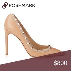 """Valentino rockstud stiletto pumps in natural Valentino's now legendary rockstuds encircle the topline of a sleek pointy-toe pump lifted confidently skyward by a gorgeously slender stiletto. 4"""" (102mm) heel (size 38.5) 2 1/2"""" (64mm) shaft Slip-on style Padded insole Size 7.5. Worn once!! Valentino Shoes"""