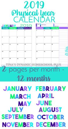2019 Physical Year Calendar – 2 Pages Per Month (Beach Color Scheme). Youll love using these two pages per month calendars for your homeschool planner, student planner, or home management planner. They come in beautiful color! Click here to grab yours!