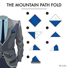 Pocket square folds: The Mountain Path. Instructions by Tie-a-Tie.net