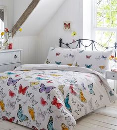 Debenhams White printed 'Cora butterfly' bedding set | Debenhams