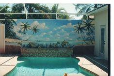 Fool The Eye Painting - Poolside Mural by Michael Vires Beach Scene Painting, Mural Painting, Mural Art, Eye Painting, Ocean Mural, Beach Wall Murals, Outdoor Wall Paint, Outdoor Walls, Painted Garden Sheds