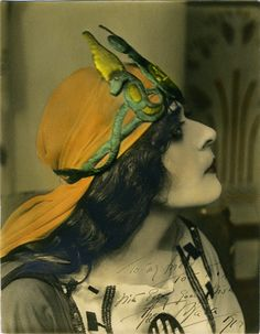 Theda Bara as Cleopatra (hand-colored silver gelatin photograph, 1917) – Albert Witzel  The photograph is signed by the actress for silent film cowboy actor Tom Mix.