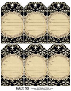 Ephemera's Vintage Garden: Weekly Free Printable - Damask Tags