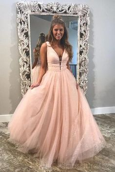 99b3370865 Blush Pink V Neck Straps A-line Sparkly Tulle Long Evening Prom Dresses