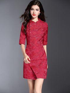 Red Wrap Front Qipao / Cheongsam Dress with Half Sleeve