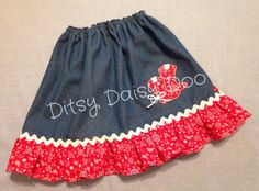 Such a sassy skirt for the rodeo, play, or Halloween! Made from brushed denim, this skirt has an elastic waist and a bandana print ruffle at the