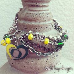 University of Oregon Ducks Multichain rhinestones and crystals college charm bracelet by alliefayedesigns on Etsy