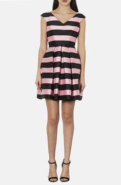 Topshop Stripe Satin Fit & Flare Dress available at #Nordstrom