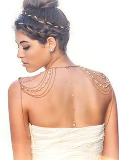 Back view of Gold Body Necklace is hand strung with glass beads, pearls and crystal rhinestones.