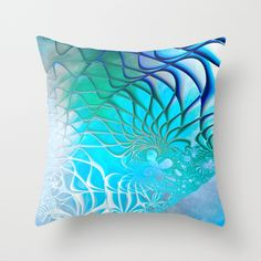 Web of the Universe (cool sea blue-green) Throw Pillow