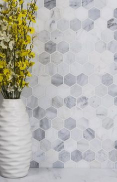 Carrara White Marble 2 Hexagon Mosaic Tile Natural Stone (Honed) 30 bathroom tile when you work with TileBuys on your project. Visit the contact page and schedule a free 30 minute consultation. Hexagon Mosaic Tile, Marble Mosaic, Honeycomb Tile, Hexagon Backsplash, Honed Marble, Carrara, Bathroom Floor Tiles, Tile Floor, Bathroom Cabinets