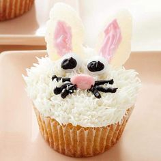 These adorable bunny cupcakes are perfect for Easter celebrations! See more Easter treats: http://www.bhg.com/holidays/easter/recipes/fun-to-make-easter-treats/?socsrc=bhgpin030413bunnycupcake