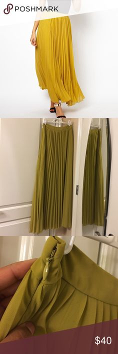 "ASOS Pleated Maxi- Lime Skirt NWOT size 2 Lime colored Maxi length skirt. I am 5'3"" and this skirt is too long for me. Planned on wearing it with heels, but it never happened, so time for it to find a new home. Worn once to try on. More green than the yellow ASOS image ASOS Skirts Maxi"
