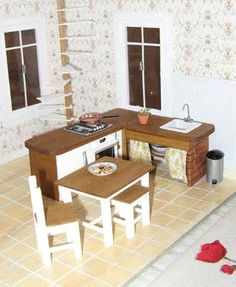 how to: kitchen (stove, refrigerator, sink, table and chairs)