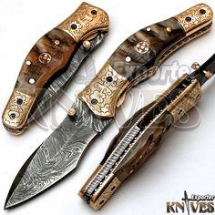 Knives Exporter Custom made Damascus Steel Folding Knife Ram Horn Handle KE-F69 #KnivesExporter