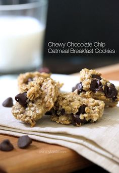 Chocolate Chip Oatmeal Breakfast Cookies. These healthy cookies are chewy and delicious, and made with just three ingredients - oats, bananas, and chocolate chips.
