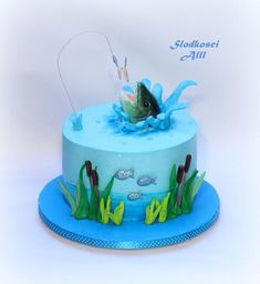 Fishing Theme Cake, Fishing Cakes, Gone Fishing Cake, Fisherman Cake, Fish Cake Birthday, Fishing Birthday Cakes, Cake Design For Men, Boat Cake, Fishing Gifts