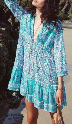 Bohemian Deep V Neck 3/4 Sleeve Beach Dress