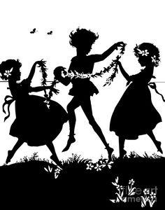 Silhouette de 3 enfants dansant et en jouant avec des fleurs Art numérique