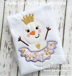 Snow Princess Snowman Applique Design by JazzyZebraDesigns on Etsy