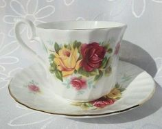 Vintage Royal Sutherland Staffordshire Bone China Tea cup and Saucer England