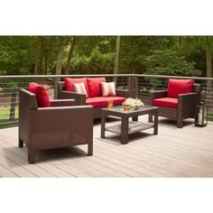 Hampton Bay, Beverly 4-Piece Patio Deep Seating Set with Dragon Fruit Cushion, 65-910233 at The Home Depot - Mobile