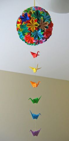 Rainbow origami decoration
