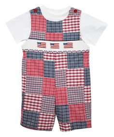 Another great find on #zulily! Red & Blue Flag Smocked Shortalls & Tee - Toddler #zulilyfinds