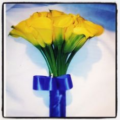 yellow calla lilies wedding bouquet  Save the Date Florida