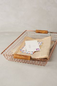 Rosy Wire Basket - anthropologie.com