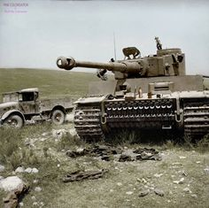A German Tiger I tank captured by british, 6 May 1943, North Africa. Now in Bovington Museum and used in Fury. https://www.facebook.com/World-War-Colorisation-790508287736232/
