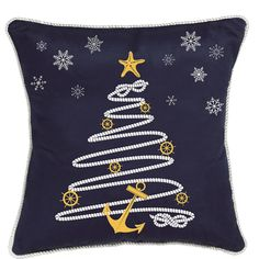 Nautical Holiday Rope Tree Pillow