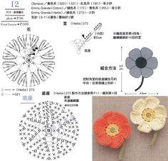 Chevron Crochet Patterns, Crochet Applique Patterns Free, Crochet Diagram, Crochet Chart, Crochet Motif, Crochet Lace, Crochet Poppy, Crochet Flowers, Diy Crochet And Knitting