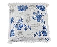Cojín Blue Flowers, azul y blanco - 45x45 cm