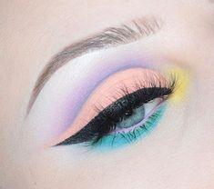 WEBSTA @ - Kat Von D Pastel Goth Palette. Pastel eye make up with cut crease WEBSTA @ - Kat Von D Pastel Goth Palette. Pastel eye make up with cut crease Makeup Eye Looks, Mac Makeup, Cute Makeup, Pretty Makeup, Eyeshadow Makeup, Eyeshadows, Stunning Makeup, 1980s Makeup, Pink Eyeliner