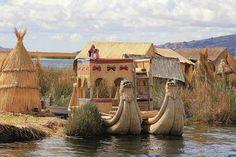 Uros traditional village on Lake Titicaca near the city of Puno, Peru.