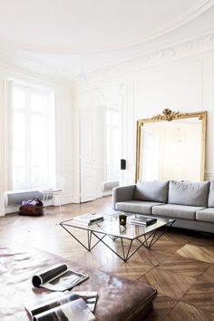 Modern living space with a gray sofa, a large vintage mirror, and a glass coffee table