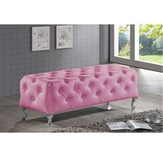 Stella is a glamorous designer bed-end bench that takes it up a notch with allover faux crystal button tufting.