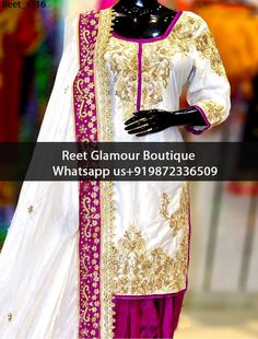 Charming White Embroidered Punjabi Suit Product Code : Reet_s316 To Order, Call/Whats app On +919872336509 We Offer Huge Variety Of Punjabi Suits, Anarkali Suits, Lehenga Choli, Bridal Suits,Sari, Gowns Etc .We Can Also Design Any Suit Of Your Own Design And Any Color Combination.