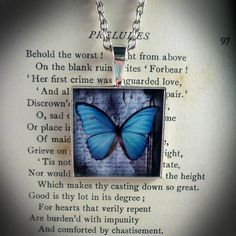 """The Butterfly Papers - Silver plated pendant with resin covered image of a Clockwork Jewel digital artwork. On a silver plated chain, length - 16"""" - 18"""" Size - one inch x one inch. Price - £14.99"""
