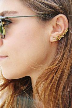 Square Ear Cuff Geometric Ear Cuff Silver Ear Cuff by GULIAN